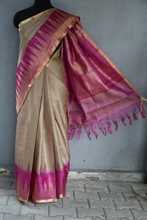 beige with pink zari border tussar saree 1