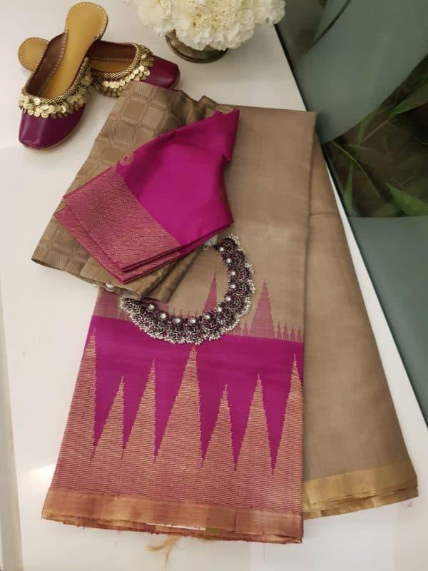 beige with pink zari border tussar saree