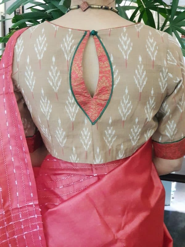 brown ikat blouse back