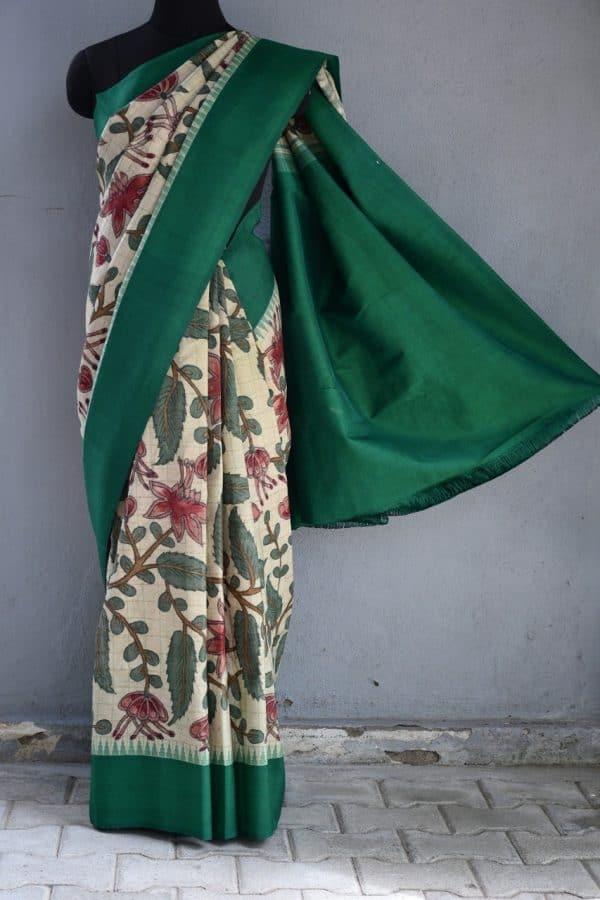 Beige green kancheepuram silk kalamkari saree 1
