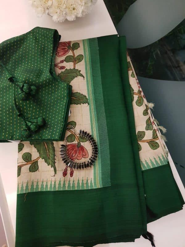 Beige green kancheepuram silk kalamkari saree