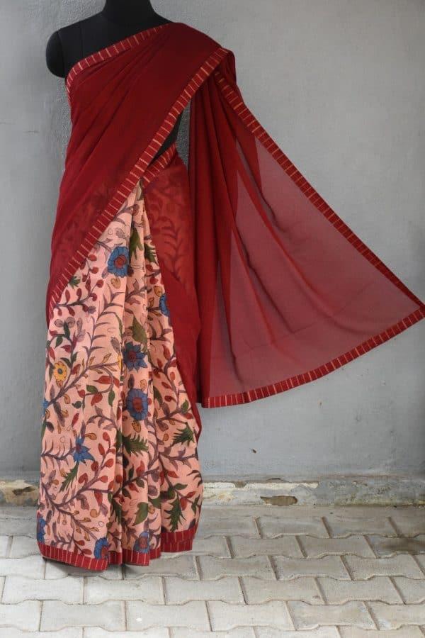 maroon chiffon with organza kalamkari fusion saree