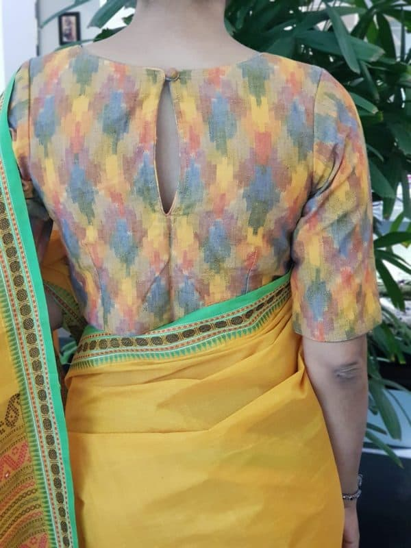 multicolour ikat blouse back