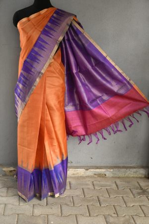 orange with purple zari border tussar saree 1