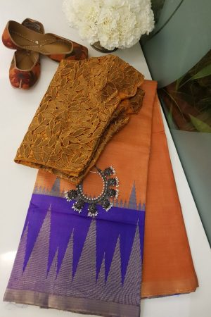 orange with purple zari border tussar saree
