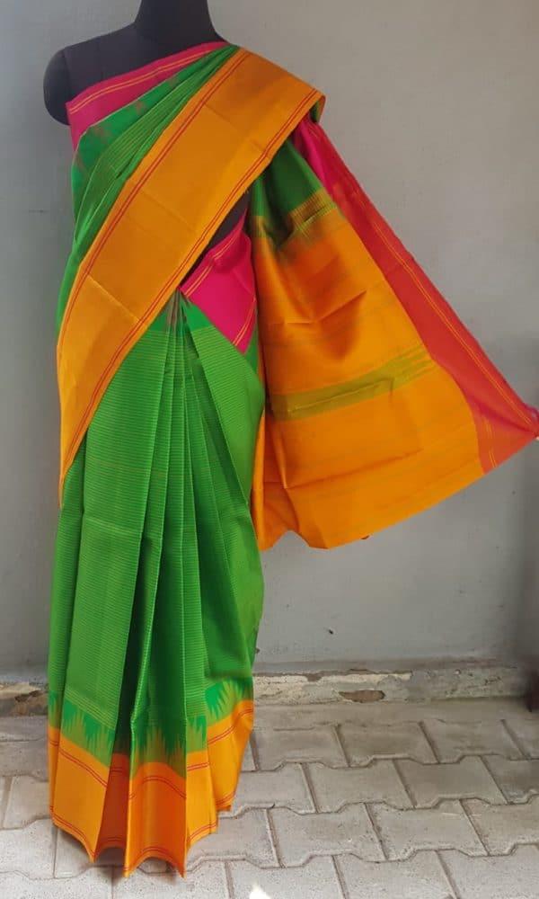 parrot green ganga jamuna kanchi silk saree 1