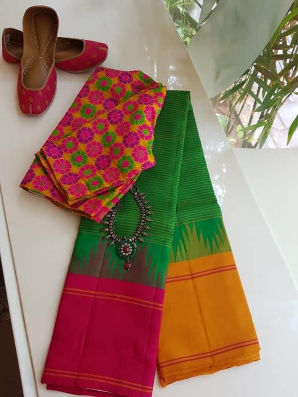 parrot green ganga jamuna kanchi silk saree