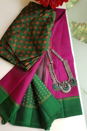 pink kanchi silk saree with green brocade pallu