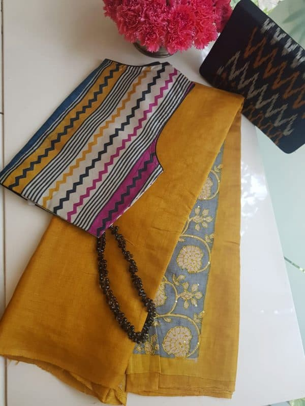 Mustard plain tussar with embroidered blouse