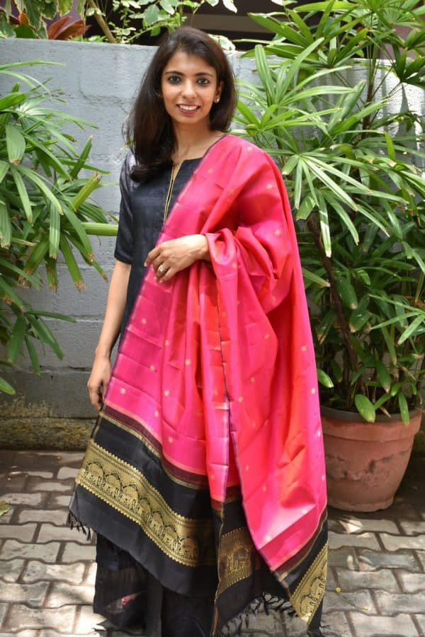 Pink black kanchi silk dupatta