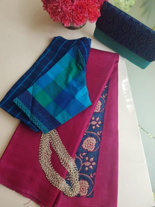 Pink plain tussar saree with embroidered blouse