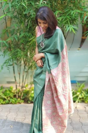 Russian green plain tussar saree with embroidered blouse 1