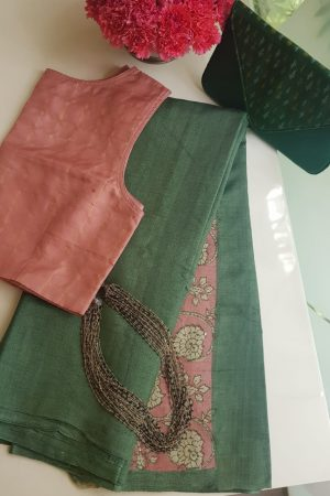 Russian green plain tussar saree with embroidered blouse