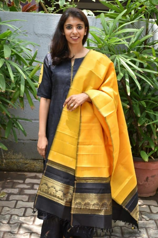 Yellow black kanchi silk dupatta