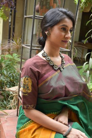 BROWN kalamkari applique blouse front