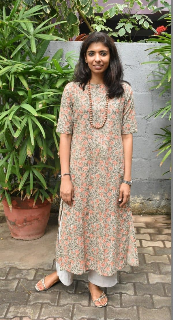 Beige printed cotton kurta with peach flowers front