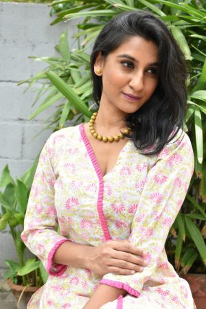 Beige printed cotton kurta with pink neck detailing