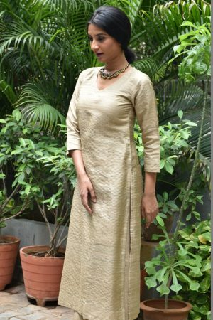 Beige tussar kurta with zari checks
