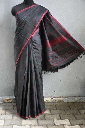 Black maroon zero zari kanchi silk saree 1