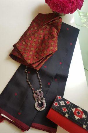 Black maroon zero zari kanchi silk saree