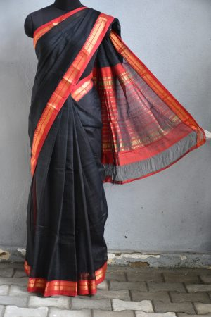 Black red zari border mangalagiri silk cotton saree 1