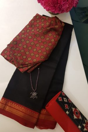 Black red zari border mangalagiri silk cotton saree