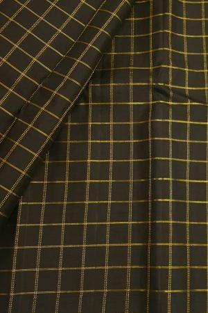 Black zari checks kanchi silk fabric