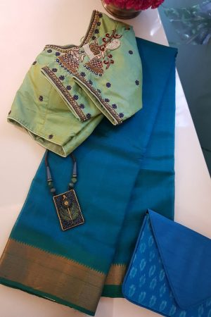 Blue mangalagiri handloom silk cotton saree