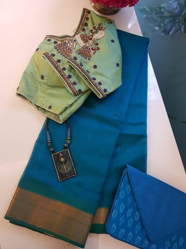 Blue mangalagiri handloom silk cotton saree