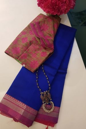 Blue pink zari border mangalagiri silk cotton saree 2