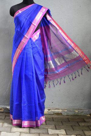 Blue pink zari border mangalagiri silk cotton saree 3