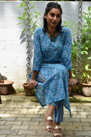 Blue printed cotton kurta and palazzo