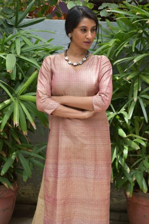 Blush pink tussar zari checks kurta