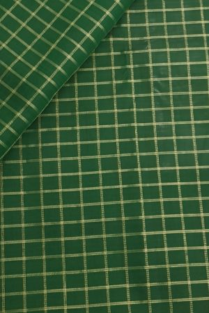 Dark green zari checks kanchi silk fabric