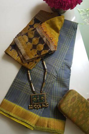 Grey checks mangalagiri handloom silk cotton saree