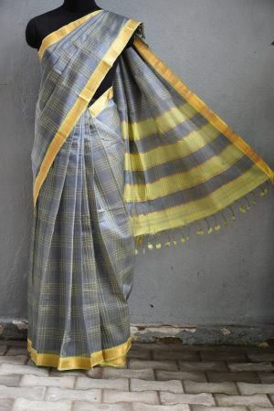 Grey checks mangalagiri handloom silk cotton saree1