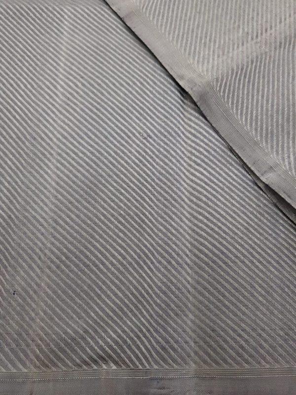 Grey jacquard kanchi silk fabric