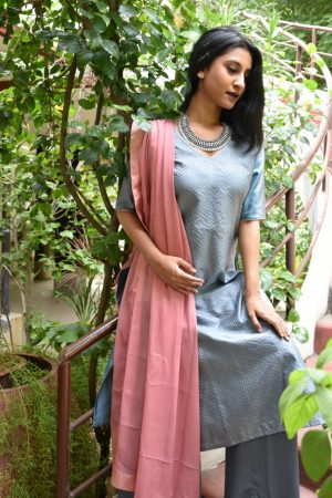 Grey kanchi silk kurta with pink dupatta