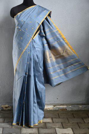 Grey mustard zero zari kanchi silk saree 2