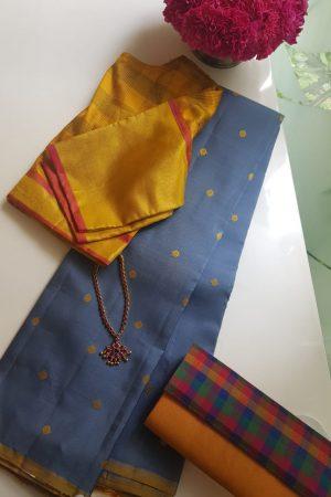Grey mustard zero zari kanchi silk saree