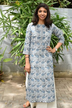 Grey printed cotton kurta with pleated detailing