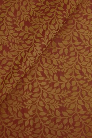 Maroon creeper design thread woven kanchi silk fabric