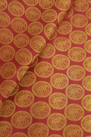 Maroon elephant kanchi silk zari fabric