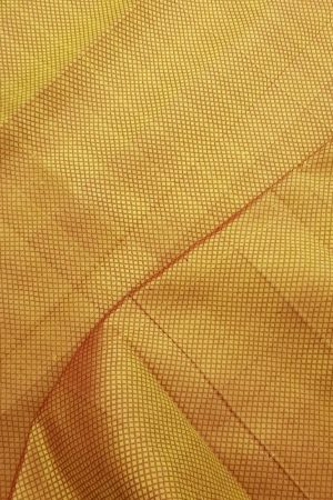 Mustard kuyil kan kanchi silk fabric