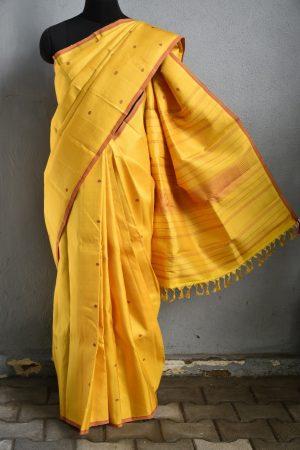 Mustard maroon zero zari kanchi silk saree 1