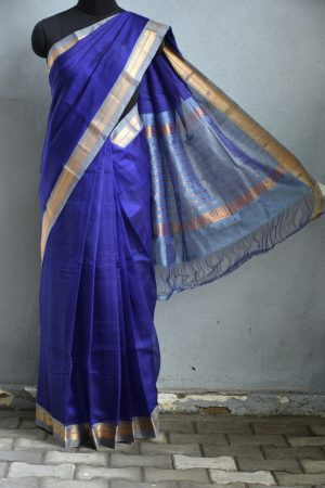 Navy grey zari border mangalagiri silk cotton saree 1