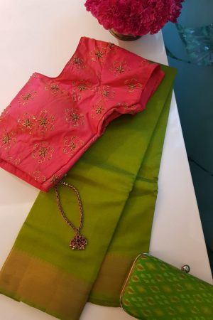 Olive mangalagiri handloom silk cotton saree
