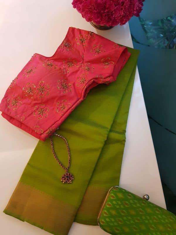 Olive mangalagiri handloom silk cotton saree