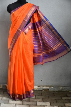 Orange mauve zari border mangalagiri silk cotton saree 1