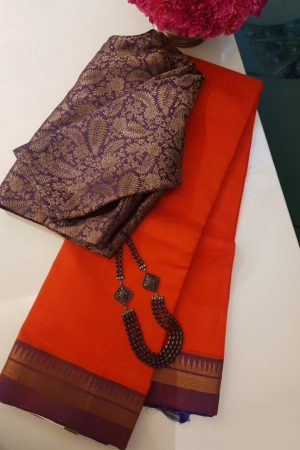 Orange mauve zari border mangalagiri silk cotton saree